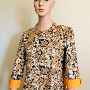 Tops - yellow and black print kurti, with back zipper